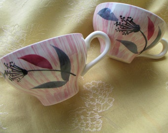 Pair Hand Painted Pink Mid Century Coffee Cups