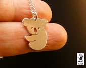 Tiny Cute Koala Bear Handmade Personalized Sterling Silver .925 Necklace in a gift box