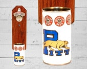 Sports Gift Pitt Panthers Wall Mounted Bottle Opener with Vintage Beer Can Cap Catcher - Gifts for Groomsmen