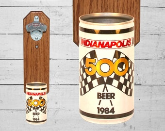 Indianapolis 500 Wall Mounted Bottle Opener with Vintage First Edition Indy Beer Can Cap Catcher - Groomsman Gift