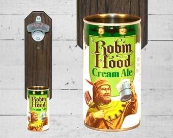 Man Cave Gift Robin Hood Wall Mounted Bottle Opener with Vintage Beer Can Cap Catcher
