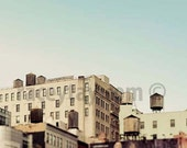 Water Towers of New York City Print- Beige Mint Blue Wall Art, Industrial City Architecture- NYC Art- SoHo