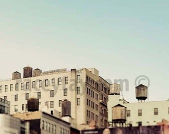 Water Towers, New York City Prints, Beige, Blue, New York Photography, NYC Art, Architecture, SoHo, Neutral, Rustic