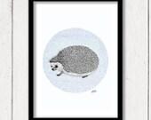 A hedgehog Adventure, Pencil Art Print
