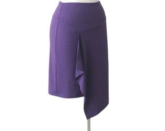SALE, Asymmetric pencil skirt, Jersey wrap skirt, Dark Violet Wrap skirt, Knee length pencil skirt, Womens skirt, Size Large, Ready to ship