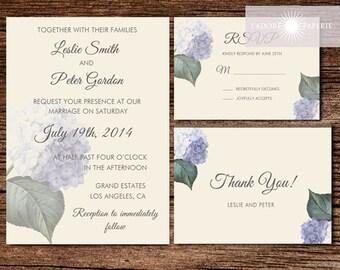 Floral Wedding Invite, Printable Vintage Floral Wedding Invitation, Hydrangea, Blue, Printable Invite, RSVP, Thank You, jadorepaperie