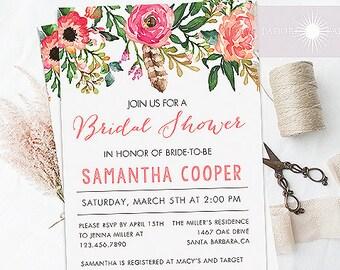 Bridal Shower, Shower Invitation, Printable Shower Invite, Watercolor Invitation, Spring Invitation, Spring Shower, DIY,  jadorepaperie