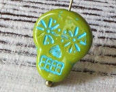 Day Of The Dead Sugar Skull Beads - Jewelry Making Supplies - Czech Glass Beads - Lime Green with Aqua Wash - Choose Amount