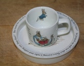 Wedgwood Peter Rabbit Bowl and Cup Baby Feeding Dish Beatrix Potter