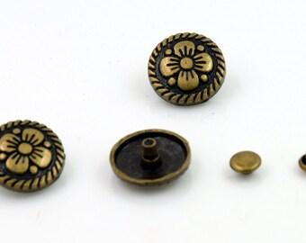 10 pcs Zinc Antique Brass Vintage Flower Rivet Stud Buttons Decor Diy Crafts Fashion Accessories Sizes 15 mm. FW BR 15 30 RV 3