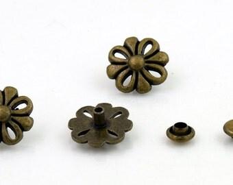 10 pcs Zinc Antique Brass Vintage Flower Rivet Stud Buttons Decor Diy Crafts Fashion Accessories Sizes 13 mm. FW BR 13 30 RV 3