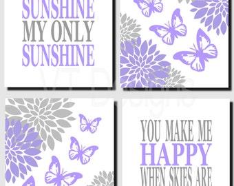 Purple Gray Nursery Art, Butterflies Wall Art, Flowers, Baby Girl Nursery, Kids Wall Art, You Are My Sunshine, Toddler Girl, Set of 4, Print
