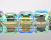 38pcs Rectangle Crystal Glass Faceted beads 20mm Sparkly Green-(TS13-7)