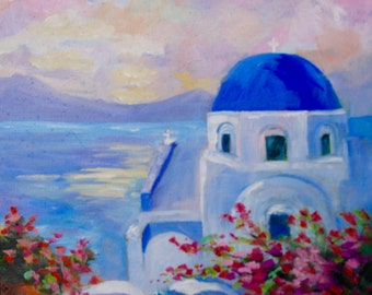 Modern Impressionist Original Oil Painting Santorini Greece Landscape by Rebecca Croft