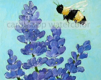 """bee and lavender print of original acrylic painting 6"""" x 6"""""""