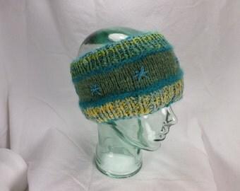 Reversible Shades of Green Headband Wool and Angora