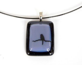 Bird on a Branch - Fused Glass Pendant Necklace - Purple and Black Glass - Handmade Glass Jewelry