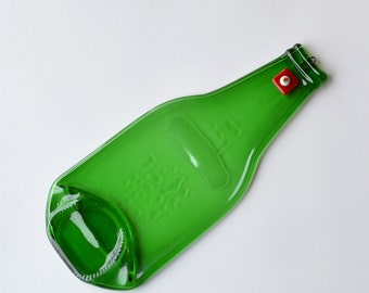 Eco Beer Bottle - Butter Dish - Melted Bottle - Up-Cycled Green Bottle Appetizer Plate - Christmas Gift - Gingerbread Red Glass Accent