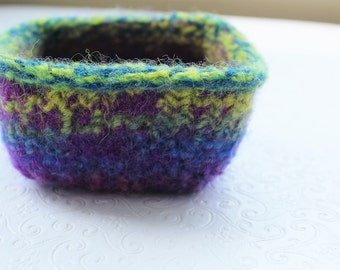 Purple, Blue and Lime Green Wool Felt Basket, Knit Felt Storage Basket, Boiled Wool Storage Basket, Soft Wool Container, Hand Knit Wool Bowl