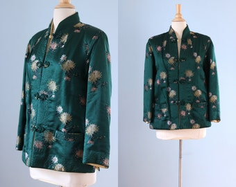 1950s Oriental silk jacket / 50s Oriental reversable silk satin jacket