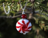 Christmas Necklace, Peppermint, Holiday