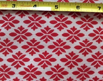"Vintage Feed Sack Fabric 36"" x 45"" Red on White Print #007"