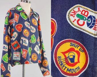 Vintage 60s 70s CB radio trucker jacket / printed NOVELTY jacket / Patch print mens jacket