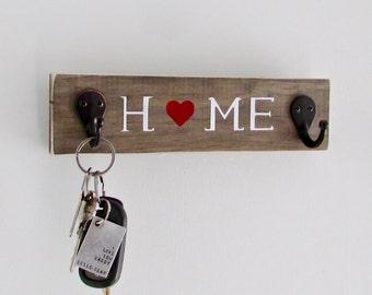 Home, Keys, Rustic Key Holder, Key Holder, Key Hook, Wall Decor,  Reclaimed Wood, Farmhouse, Barn, Woodwork, Home Decor