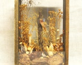 Shadow Box , Nature Scene , Organic Materials , Display Case , Woodland , Bird , Flowers , Handmade , Made By Hand , Wall Decor , Display