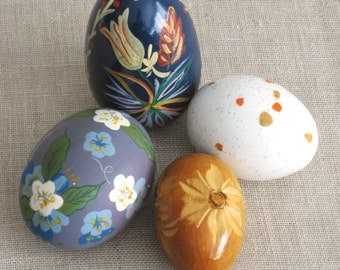 Eggs, Egg Collection, Wooden Egg, Ceramic Egg, Hand Painted, Carved Wood, Folk Art Eggs, Collection, Grouping, Easter Eggs, Decorative Eggs