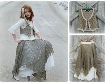Long Green Lace Skirt & Vest, Mori Girl Clothing, Lagenlook