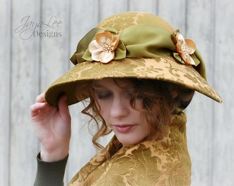 Wide Brim Hat Edwardian Picture Hat / 1920's Wide Brim Cloche Hat