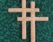 Couples Cross, Wood carved Interlocking Crosses, Wooden Marriage Cross, Cedar Wood carving Christian Cross