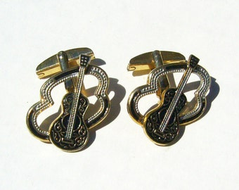 Vintage Filigree Patterned Guitar in Frame Cuff Links - Gold Tone Metal, Black w/ White Cufflink