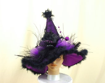 Black and Purple Witch Hat, Halloween Costume, Wicked Witch Hat, Halloween Decor, Elegant Witch Hat, Halloween Witch, Halloween Hat