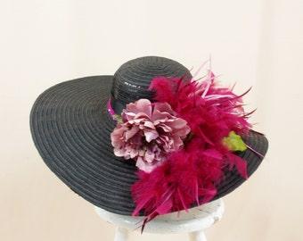 Mauve and Black Sequin Hat * Black Hat * Kentucky Derby Hat * Black Floppy Hat * Wide Brim Hat * Church Hat * Ascot Hat * Formal Hat