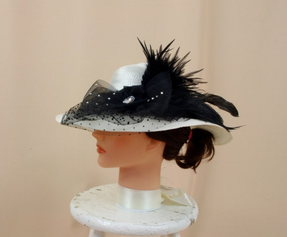 7cee2ed2e9b Black and White Hat Kentucky Derby Hat by englishrosedesignsoh