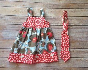 Spring Boutique brother sister set with knot  Dress and matching boy tie, sizes 1-9