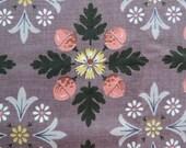 Vintage Acorn Floral Print Cretonne Cotton Fabric- 1.7 yards