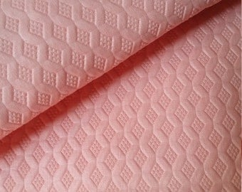 4 Yards Vintage Solid Bubble gum Pink Embossed Fabric - raised texture Lattice