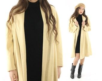 Vintage 50s Camel Cashmere Swing Coat Shawl Collar Long Winter Dress Coat 1950s Medium M