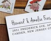 Return Address Stamp - Custom Address Stamp - Custom Rubber Stamp - Calligraphy Stamp - Eco Mount Address Stamp  - Amelia