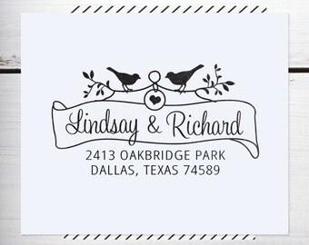 Custom Address Stamp, Return Address Stamp, Rustic Wedding stamp, Calligraphy Address Stamp, Self inking or Eco Mount stamp - Bird & Banner