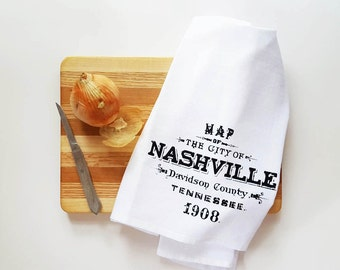 Retro Nashville Tennessee Cotton Kitchen Towel Bar Mop Gift for Men Him Dish Tea Towel Rustic Southern Country Housewarming Wholesale