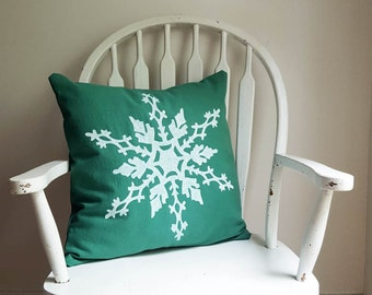 """Green Snowflake Holiday Pillow Cover 18"""" Square Christmas Winter Home Decor Nashville Tennessee Washable Cotton Wholesale"""