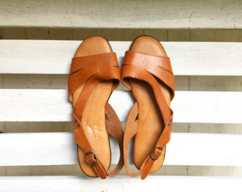 Vintage brown leather sandals, slip on flats, slides, cognac leather women's size 8 and a half