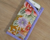 "Fabric Eyeglass Case ""Summer Flowers"" Quilted Eyeglass Case, Quiltsy Handmade, iphone Pouch"