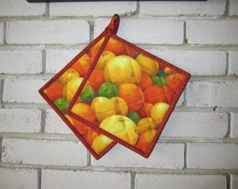 "Quilted Potholders ""Citrus Fruits"" Fabric Hotpads, Quiltsy Handmade, Kitchen Decor"