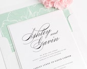 Timeless Script Wedding Invitations - Calligraphy Wedding Invitation - Soft Jade, Green - Floral, Peony Wedding Invites - Elegant - Sample