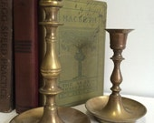 Vintage Brass Candle Holders  Vintage Candle Sticks  Pair  Collection  Set of 2